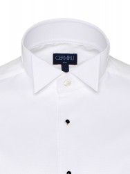 Germirli Beyaz Petek Dokulu Ata Yaka Slim Fit Gömlek - Thumbnail