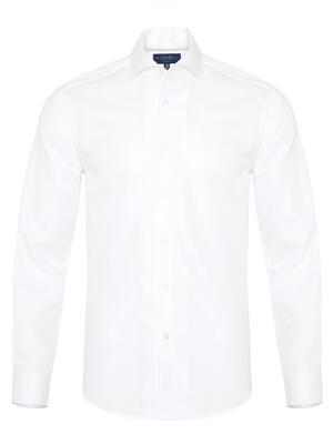 Germirli - Germirli Beyaz Petek Dokulu Nevapas Tek Parça Yaka Tailor Fit Gömlek