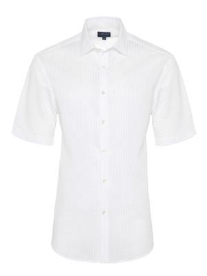 Germirli Beyaz Seersucker Klasik Yaka Kısa Kollu Tailor Fit Gömlek