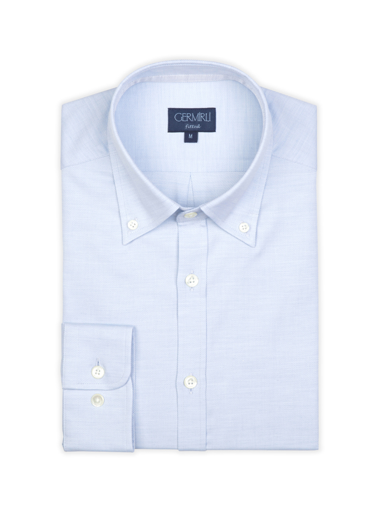 Germirli Blue Oxford Button Down Collar Tailor Fit Shirt