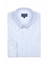 Germirli Blue Oxford Button Down Collar Tailor Fit Shirt - Thumbnail