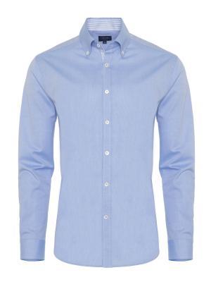 Germirli - Germirli Blue Panama Weaving Button Down Collar Tailor Fit Shirt