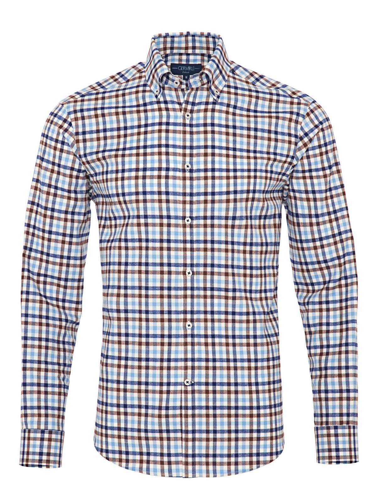 Germirli Blue White Brown Plaid Button Down Collar Flanel Tailor Fit Shirt
