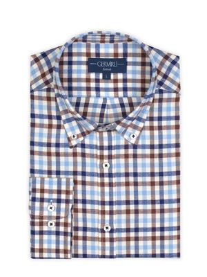 Germirli - Germirli Blue White Brown Plaid Button Down Collar Flanel Tailor Fit Shirt (1)