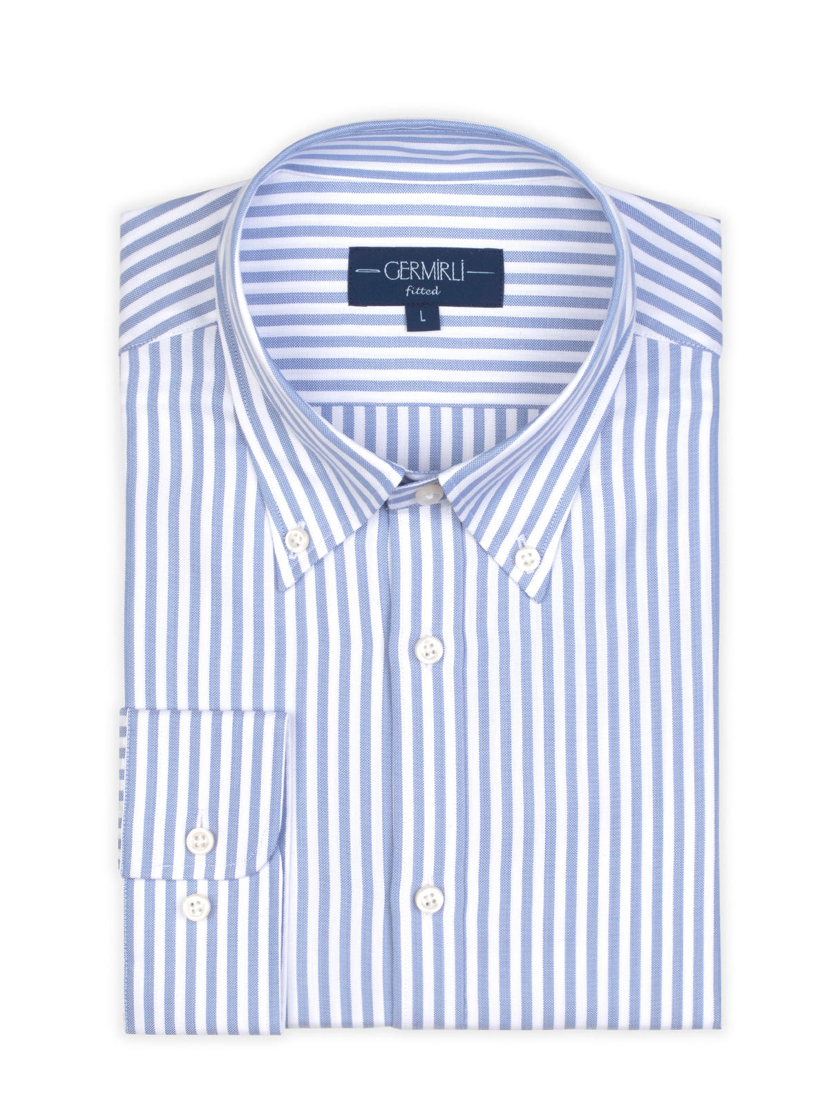 Germirli Blue White Pencil Stripe Button Down Collar Tailor Fit Tencel Shirt