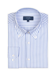 Germirli Blue White Pencil Stripe Button Down Collar Tailor Fit Tencel Shirt - Thumbnail