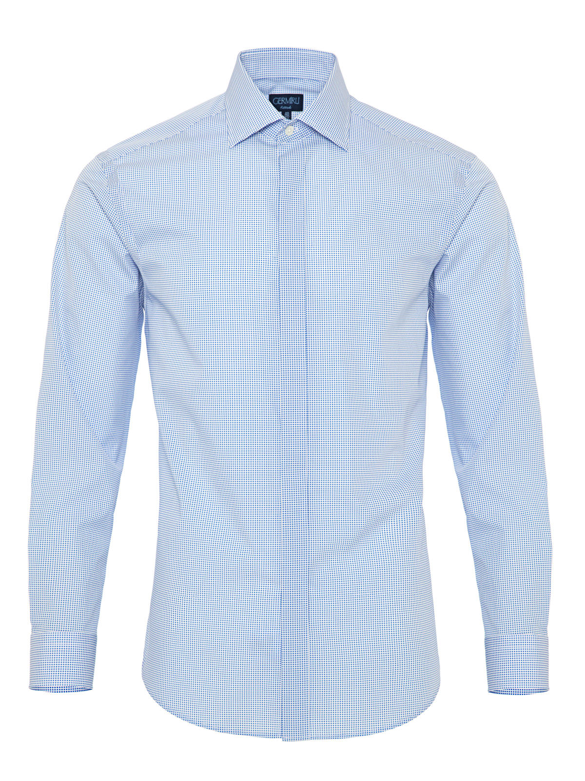 Germirli Blue White Spotted Semi Spread Tailor Fit Shirt