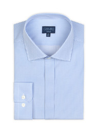Germirli Blue White Spotted Semi Spread Tailor Fit Shirt - Thumbnail