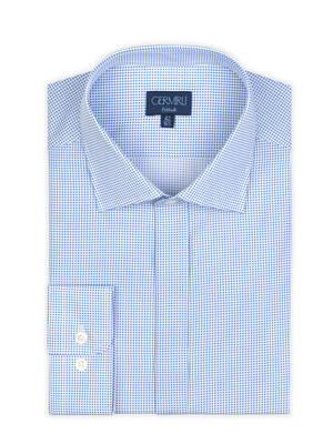 Germirli - Germirli Blue White Spotted Semi Spread Tailor Fit Shirt (1)