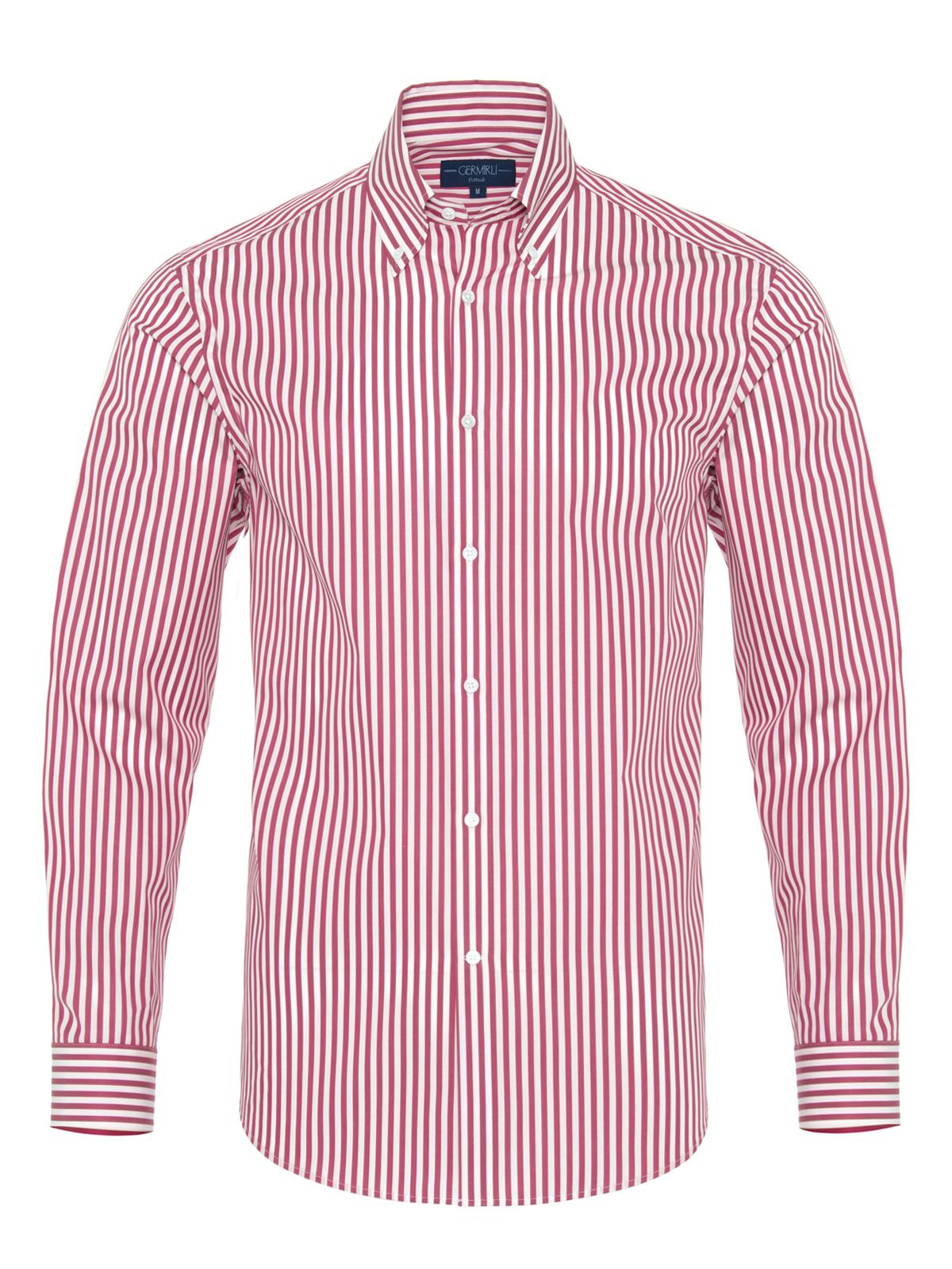 Germirli Bordo Beyaz Çizgili Düğmeli Yaka Tailor Fit Gömlek