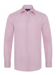 Germirli - Germirli Bordo Beyaz Gizli Pat Klasik Yaka Tailor Fit Gömlek