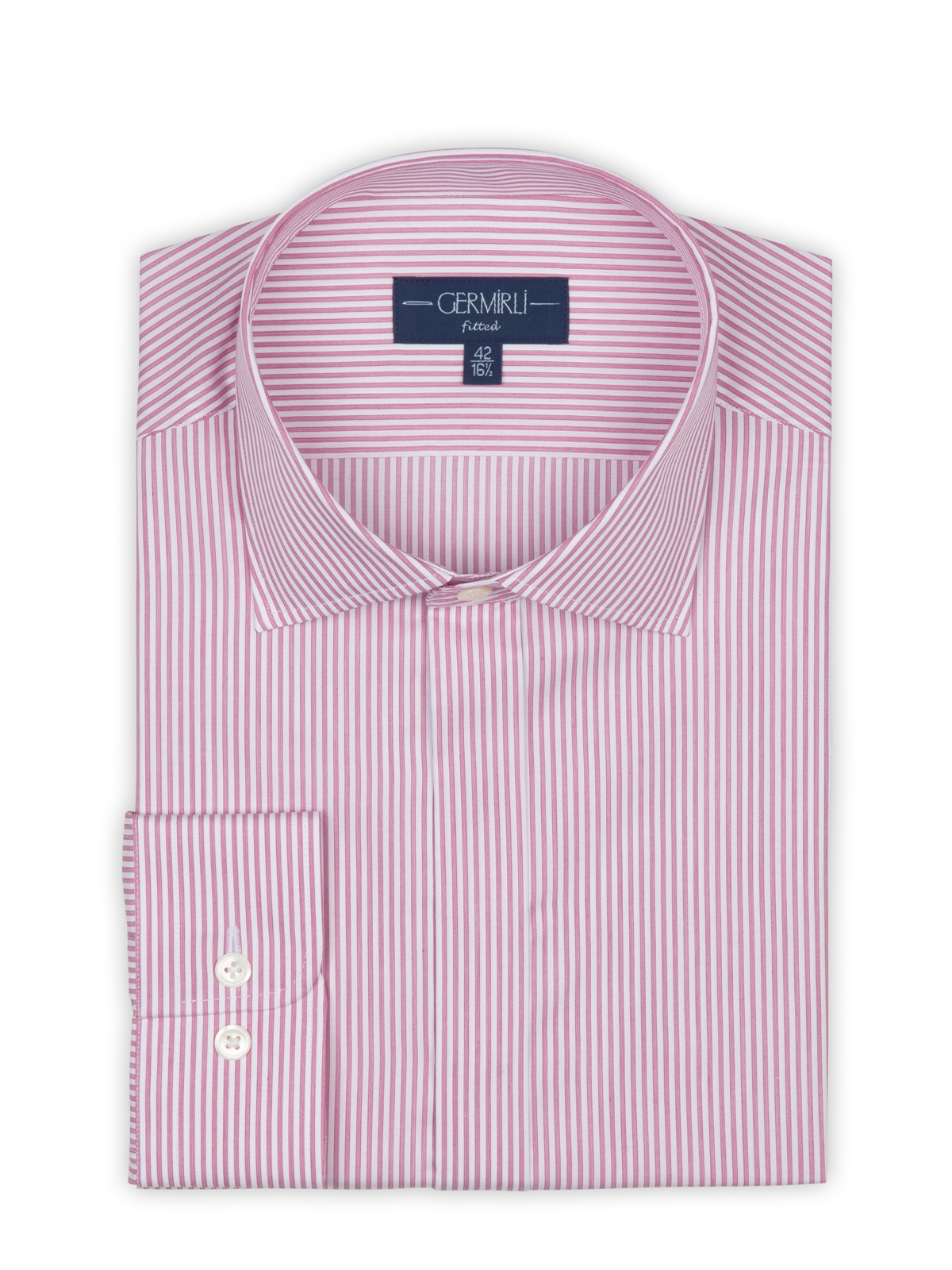 Germirli Bordo Beyaz Gizli Pat Klasik Yaka Tailor Fit Gömlek