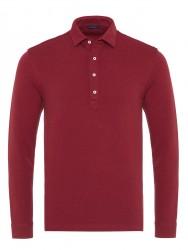 Germirli - Germirli Bordo Dokulu Örme Gömlek Yaka Düğmeli Tailor Fit Uzun Kollu T-Shirt