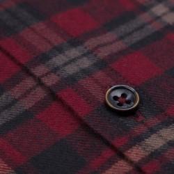 Germirli - Germirli Bordo Siyah Gri Kareli Düğmeli Yaka Flanel Tailor Fit Gömlek (1)