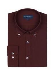 Germirli - Germirli Bordo Twill Düğmeli Yaka Tailor Fit Kaşmir Gömlek (1)
