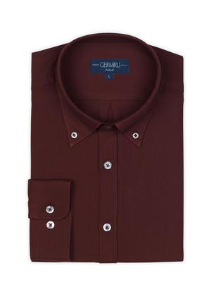 Germirli - Germirli Bordo Twill Düğmeli Yaka Tailor Fit Gömlek (1)