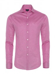 Germirli Burnt Rose Semi Spread Collar Piquet Knitted Slim Fit Shirt - Thumbnail