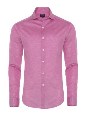 Germirli Burnt Rose Semi Spread Collar Piquet Knitted Slim Fit Shirt