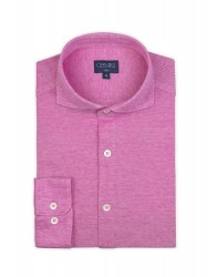 Germirli - Germirli Burnt Rose Semi Spread Collar Piquet Knitted Slim Fit Shirt (1)