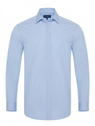 Germirli - Germirli Buz Mavisi Poplin Gizli Pat Klasik Yaka Tailor Fit Gömlek