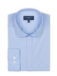 Germirli - Germirli Buz Mavisi Poplin Gizli Pat Klasik Yaka Tailor Fit Gömlek (1)