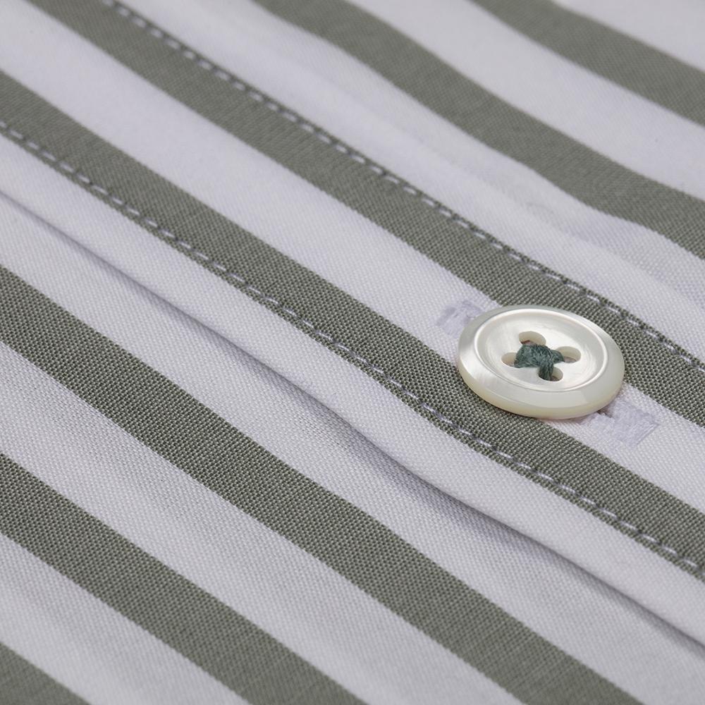 Germirli Çağla Yeşil Beyaz Çizgili Düğmeli Yaka Tailor Fit Yoga Gömlek