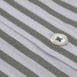 Germirli Çağla Yeşil Beyaz Çizgili Düğmeli Yaka Tailor Fit Yoga Gömlek - Thumbnail
