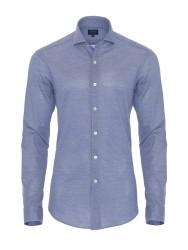 Germirli - Germirli Dark Blue Semi Spread Collar Piquet Knitted Slim Fit Shirt