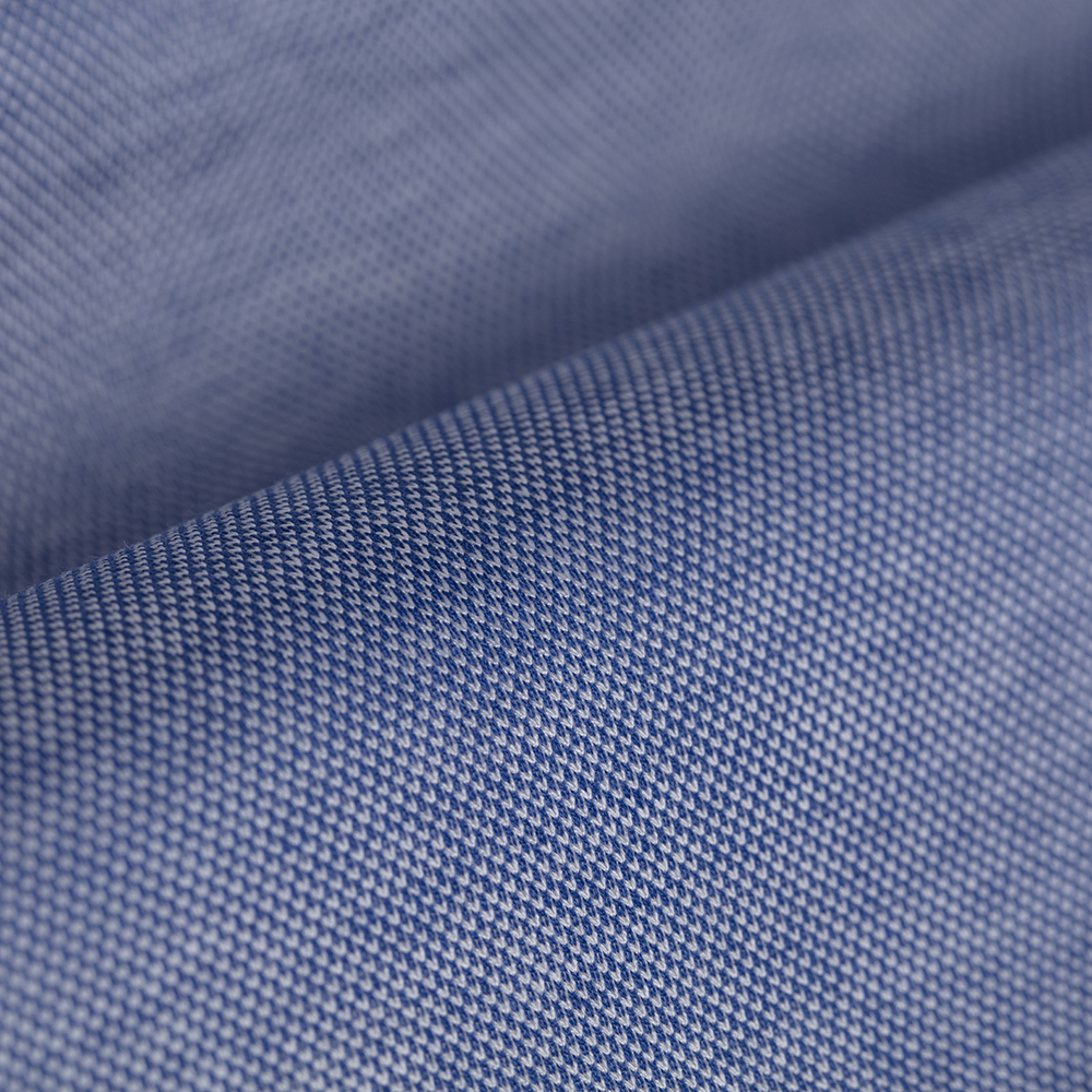 Germirli Dark Blue Semi Spread Collar Piquet Knitted Slim Fit Shirt