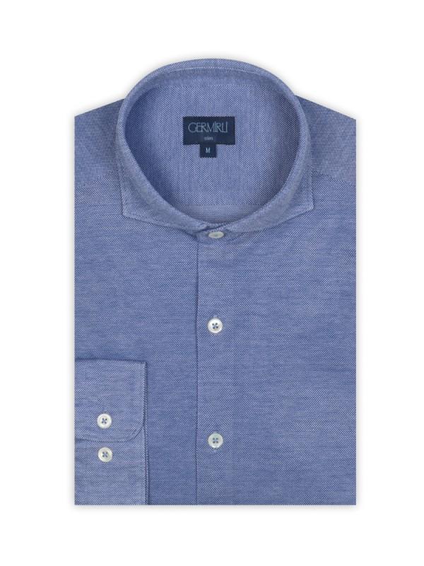 Germirli - Germirli Dark Blue Semi Spread Collar Piquet Knitted Slim Fit Shirt (1)