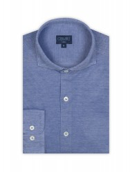 Germirli - Germirli Dark Blue Semi Spread Collar Piquet Knitted Slim Fit Shirt (1)