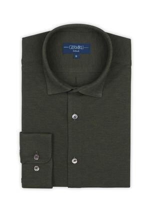 Germirli - Germirli Dark Green Soft Collar Jersey Tailor Fit Shirt (1)