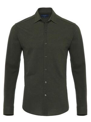 Germirli Dark Green Soft Collar Jersey Tailor Fit Shirt