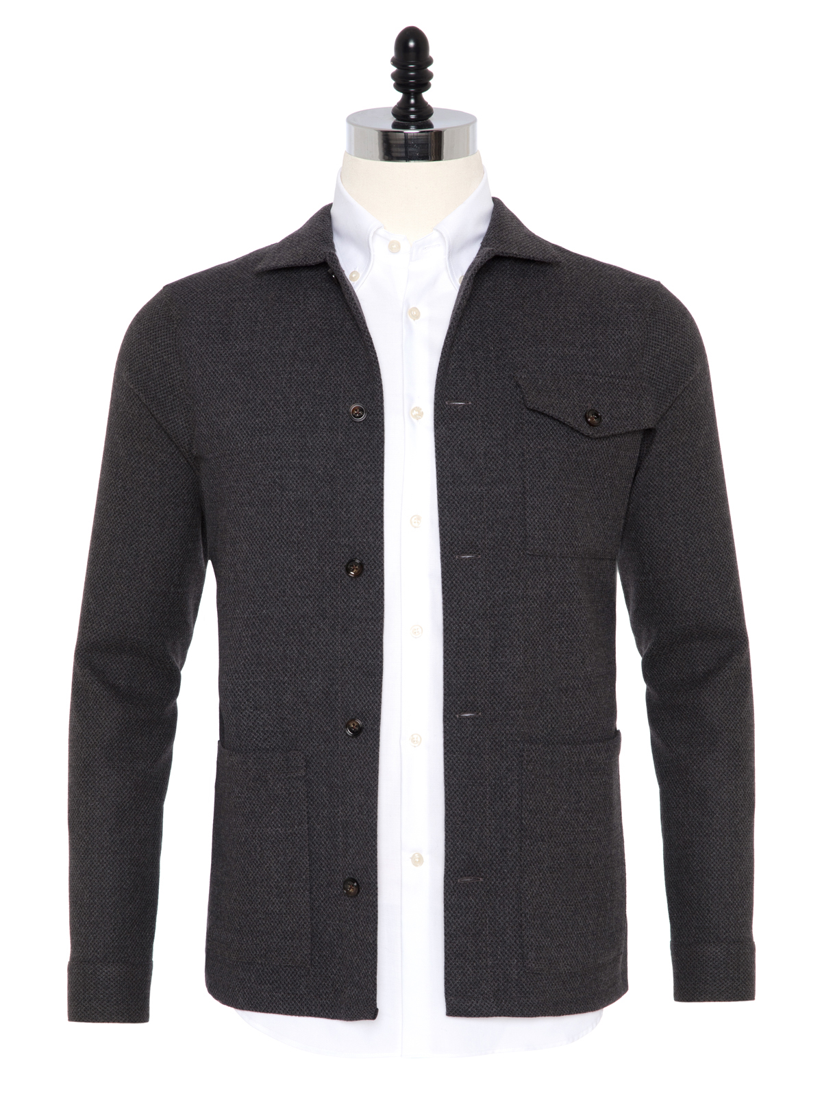 Germirli - Germirli Füme %100 Yün Tailor Fit Wool Heritage Ceket Gömlek
