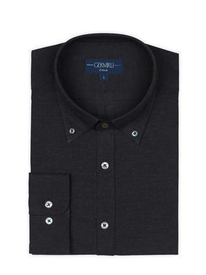 Germirli - Germirli Füme Düğmeli Yaka Flanel Tailor Fit Gömlek (1)