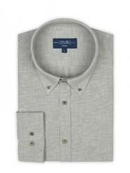 Germirli - Germirli Füme Twill Keten Pamuk Düğmeli Yaka Tailor Fit Gömlek (1)