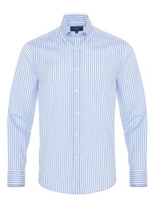 Germirli - Germirli Gök Mavi Beyaz Çizgili Düğmeli Yaka Tailor Fit Yoga Gömlek