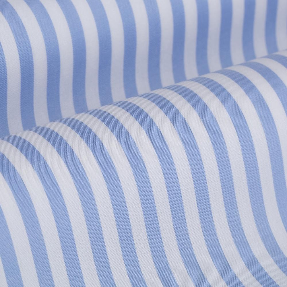 Germirli Gök Mavi Beyaz Çizgili Düğmeli Yaka Tailor Fit Yoga Gömlek