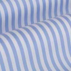 Germirli Gök Mavi Beyaz Çizgili Düğmeli Yaka Tailor Fit Yoga Gömlek - Thumbnail