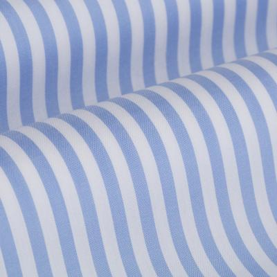 Germirli - Germirli Gök Mavi Beyaz Çizgili Düğmeli Yaka Tailor Fit Yoga Gömlek (1)