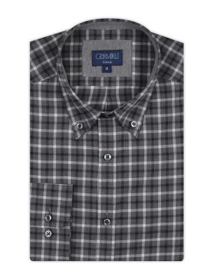 Germirli - Germirli Gri Füme Kareli Düğmeli Yaka Tailor Fit Gömlek (1)