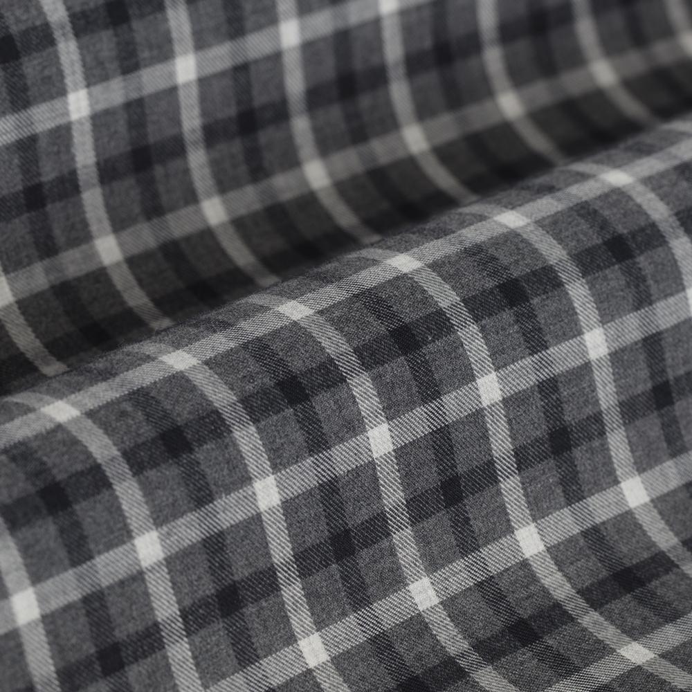 Germirli Gri Füme Kareli Düğmeli Yaka Tailor Fit Gömlek