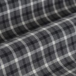 Germirli Gri Füme Kareli Düğmeli Yaka Tailor Fit Gömlek - Thumbnail