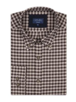 Germirli - Germirli Kahverengi Bej Kareli Düğmeli Yaka Tailor Fit Gömlek (1)