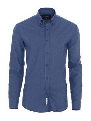 Germirli - Germirli Mavi Düğmeli Yaka Tailor Fit Gömlek