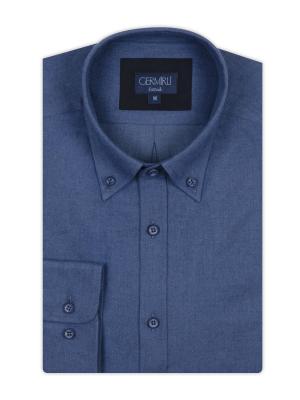 Germirli - Germirli Mavi Düğmeli Yaka Tailor Fit Gömlek (1)