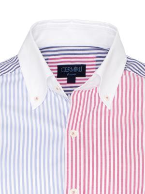 Germirli - Germirli Beyaz Pembe Mavi Çizgili Düğmeli Yaka Tailor Fit Gömlek (1)