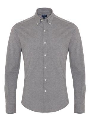 Germirli - Germirli Grey Button Down Collar Piquet Knitted Slim Fit Shirt
