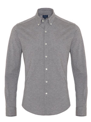 Germirli - Germirli Grey Button Down Collar Piquet Knitted Slim Fit Shirt