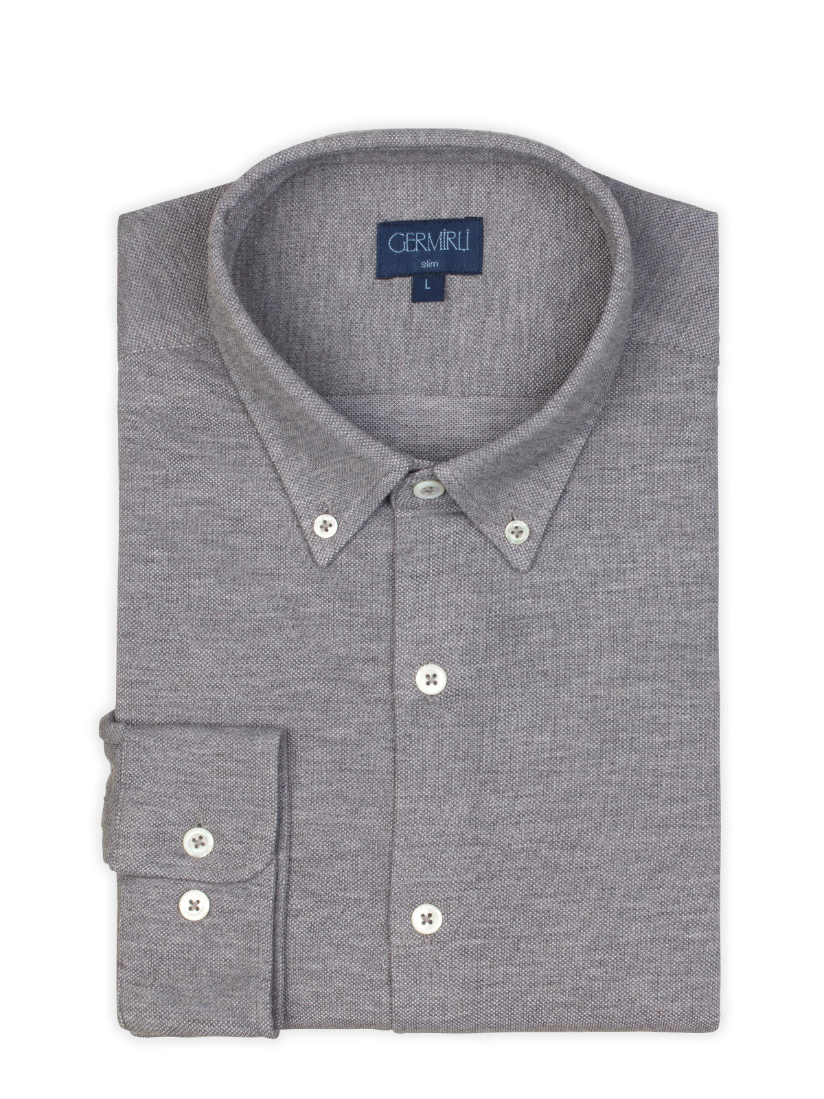 Germirli Grey Button Down Collar Piquet Knitted Slim Fit Shirt